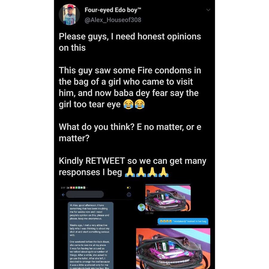 Confused Twitter user laments as his partner comes ready for social distancing with Fire Condoms. [SWIPE]