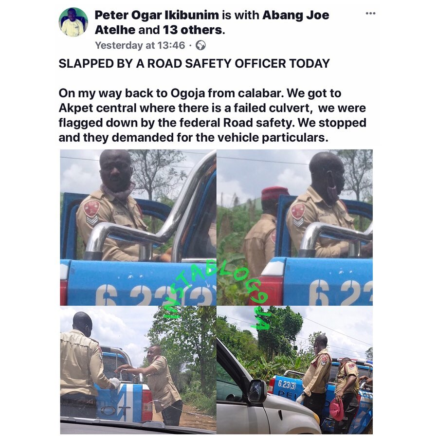 Civil servant chronicles how he was slapped by an FRSC official. [Swipe]