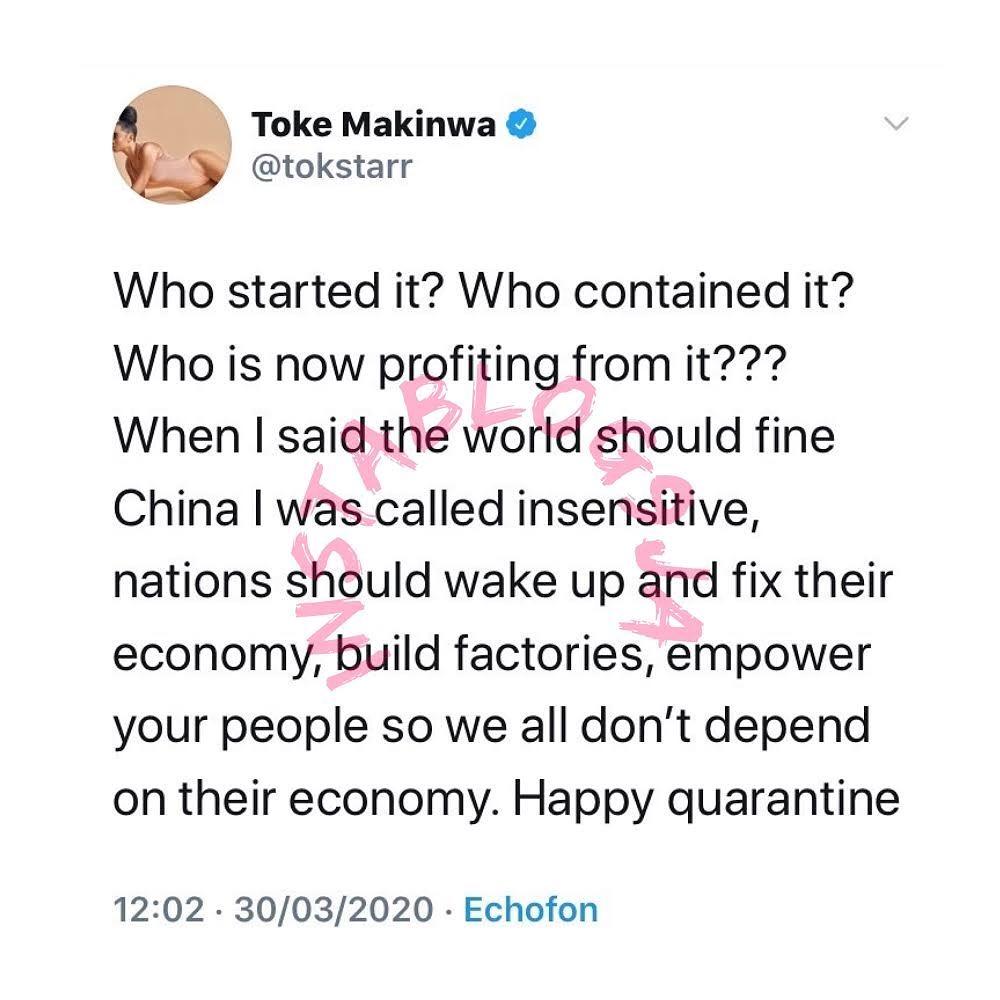Toke Makinwa maintains her stance on China