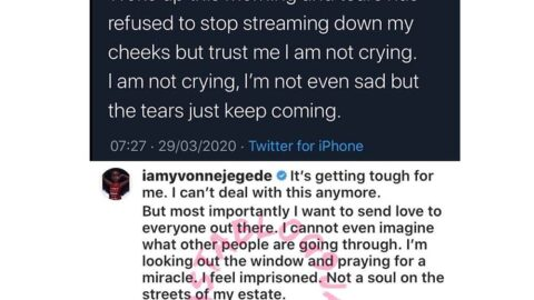 """Isolation: """"It's getting tough for me , I can't deal anymore,"""" Actress Yvonne Jegede cries uncontrollably"""