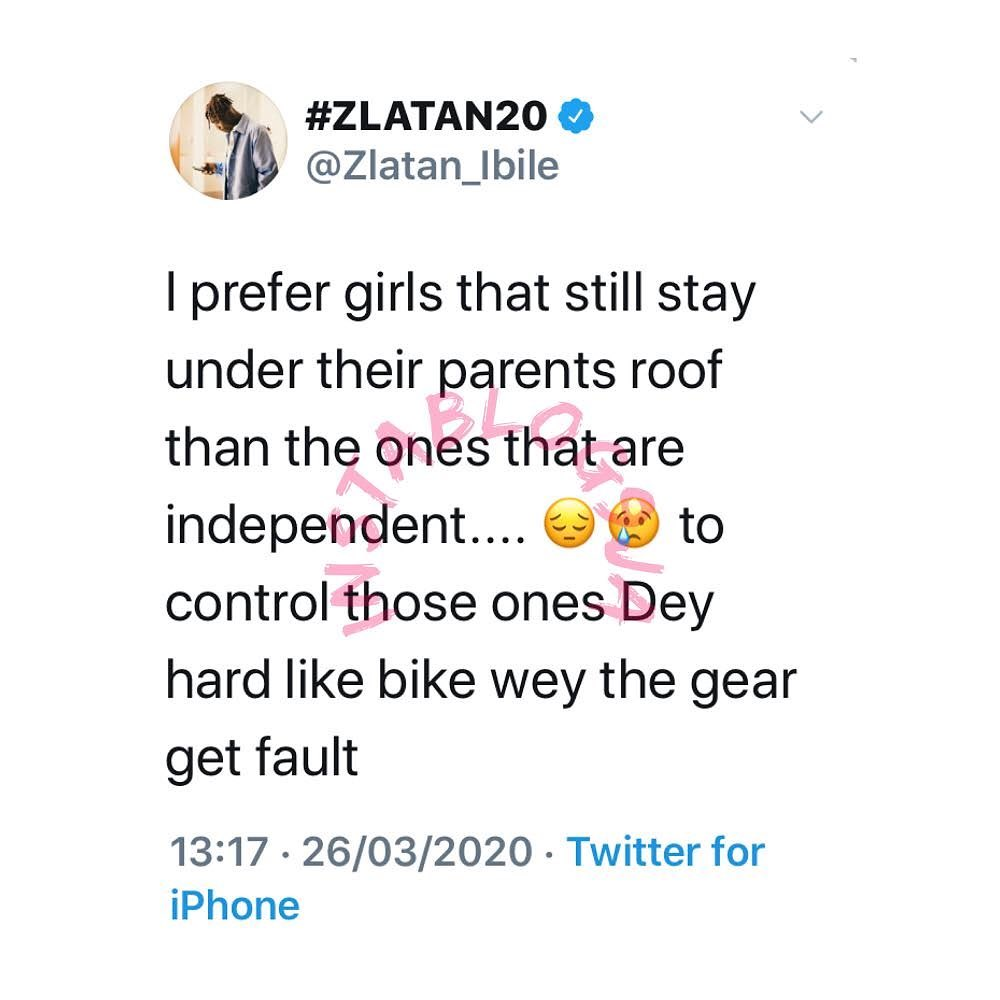 Why I prefer girls that are still staying with their parents - Rapper ZlatanIbile