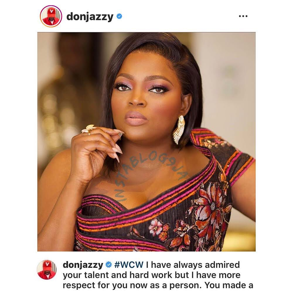 """""""You made a mistake and owned up to it. That's courage,"""" Donjazzy pens an emotional note to Funke Akindele. [Swipe]"""