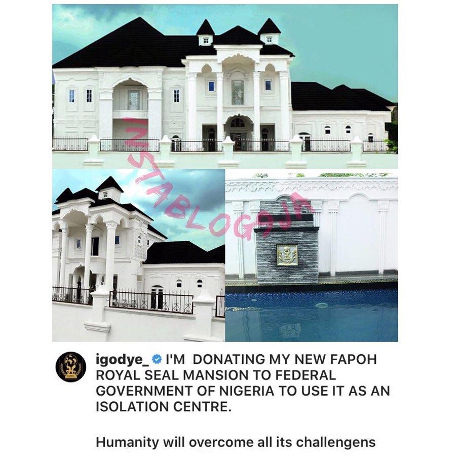 Covid-19: Comedian Igodye donates his palatial mansion as an isolation center. [Swipe]