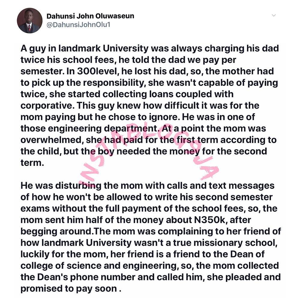 Mom in shock after discovering her son had been collecting double his tuition fee at a private university. [Swipe]