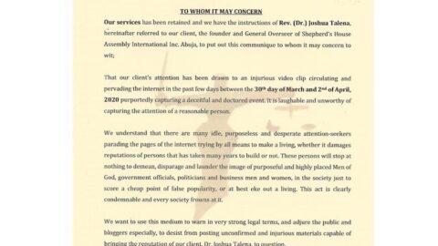 To Whom It May Concern: Defamation Against Rev. Dr. Joshua Talena [SWIPE]