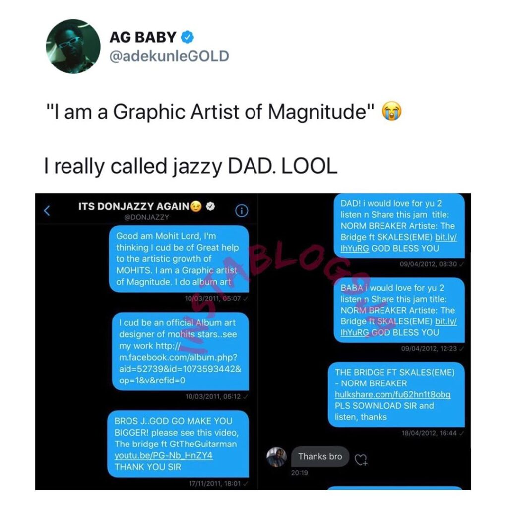 AdekunleGold shares the series of DMs he sent to DonJazzy 9yrs ago