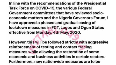 Lagos, Ogun and Abuja lockdown to end on the 4th of May – Buhari. [Swipe]