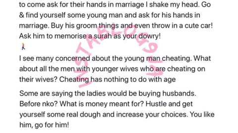 I shake my head when I see old women say they are waiting for men to come ask for their hands in marriage – Activist Yesufu