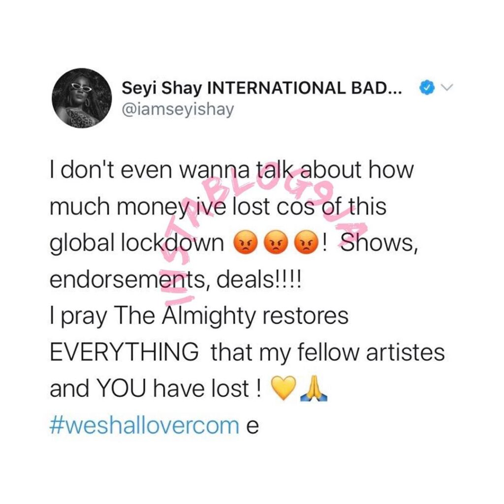 Singer Seyi Sheyi laments the amount of money she has lost to the global lockdown