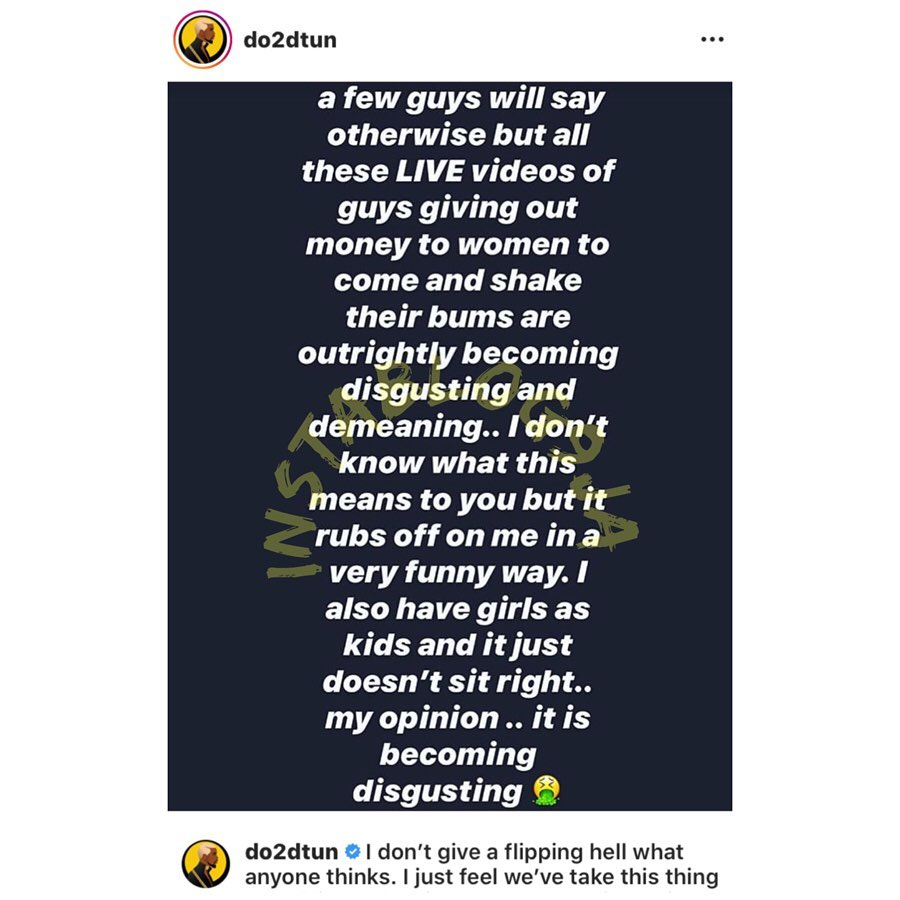 OAP Dotun blasts those giving out money to women to shake their bum bum on IG live. [Swipe]