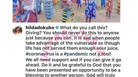 Actress Hilda Dokubo reacts to a photo of some alleged beneficiaries of COVID-19 relief package