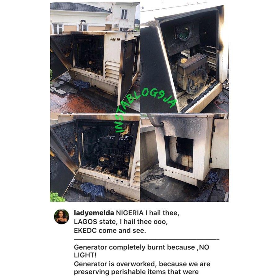 Lockdown: Miss Nigeria Universe, Emelda, escapes death as her generator gets completely burnt. [Swipe]