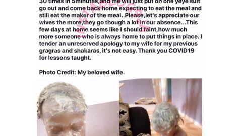 Nigerian man reveals why he'll appreciate his wife more after isolation