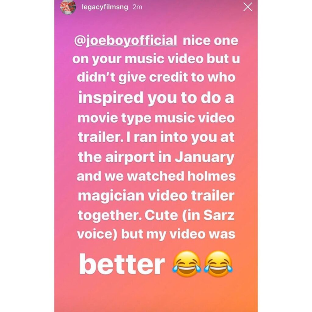 Joeboy took my idea without acknowledgement - Legacy films video director claims [SWIPE]