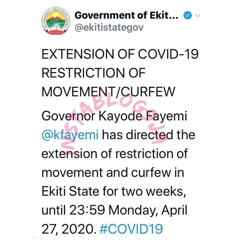 Ekiti State Government extends lockdown by two good weeks