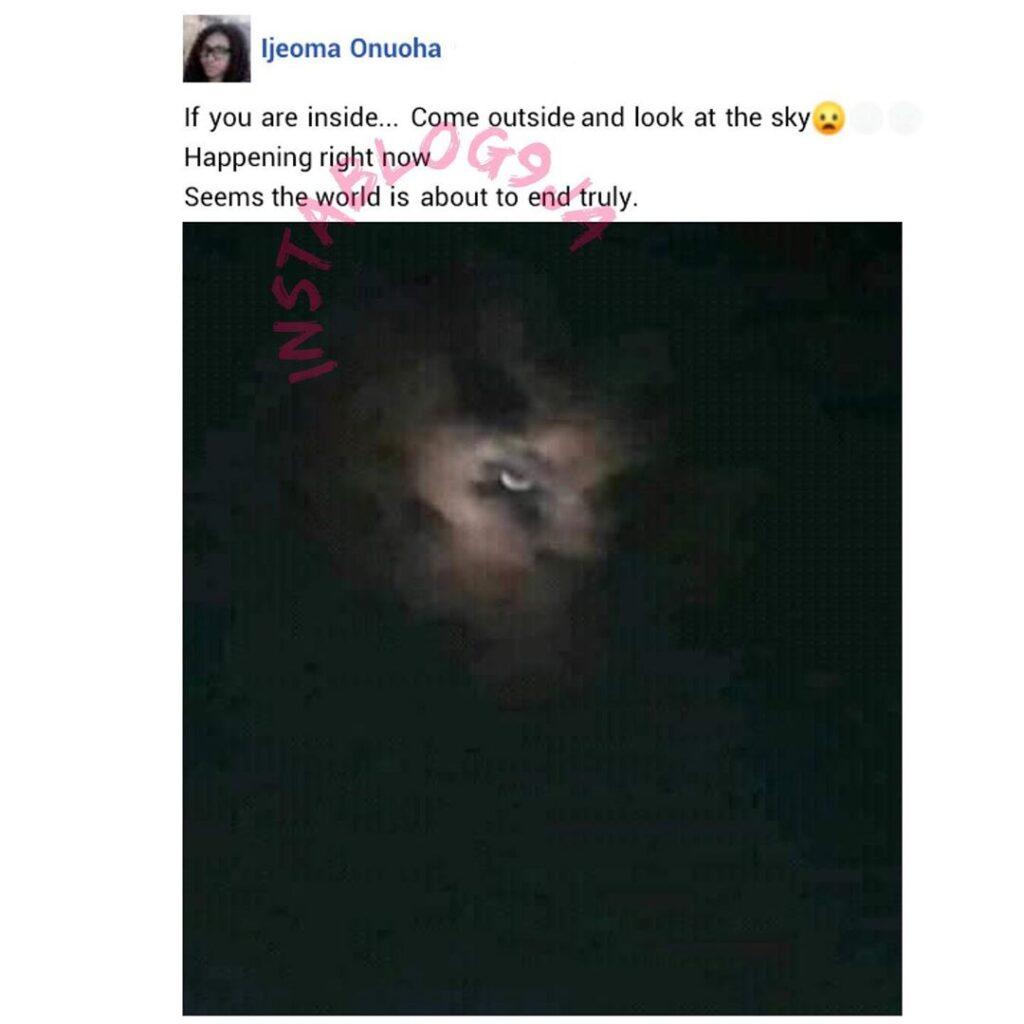 Nigerian lady shares strange image she captured in the sky