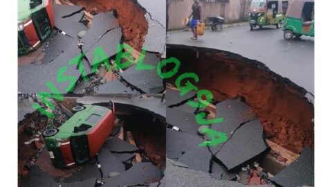 Just In: Road sinks after heavy downpour at Ogbor Hill, Aba, Abia State