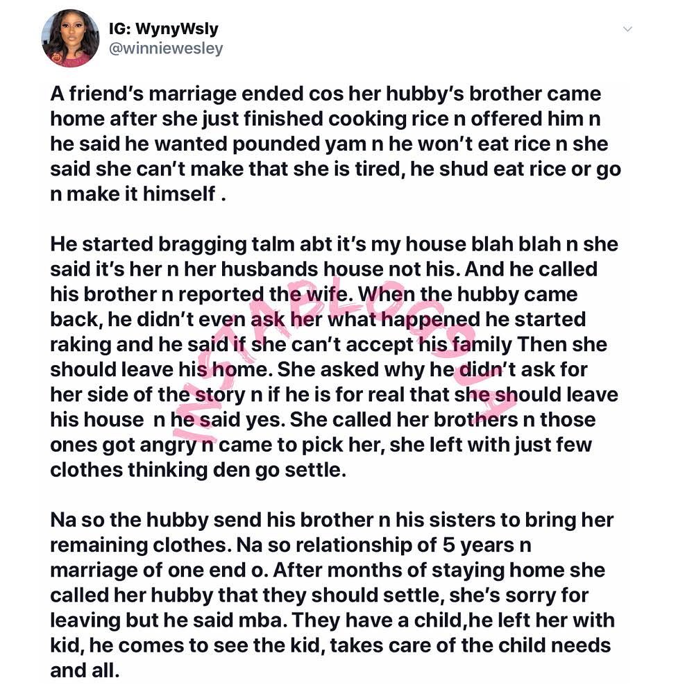 Lady's marriage crashes over her failure to pound yam for her brother-in-law