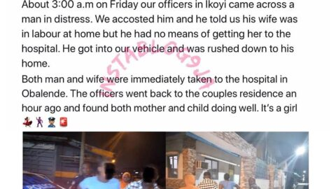 Lagos State Police help a man whose wife went into labour around 3a.m