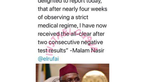 Gov. Nasir El-Rufai recovers from COVID-19