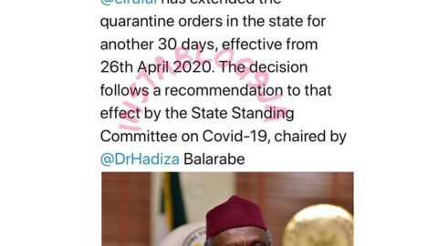 Gov. El-Rufai of Kaduna State extends lockdown by another 30 days