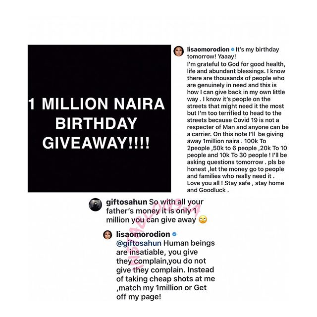 Actress #Omorodion , fires back at follower that criticized her birthday giveaway