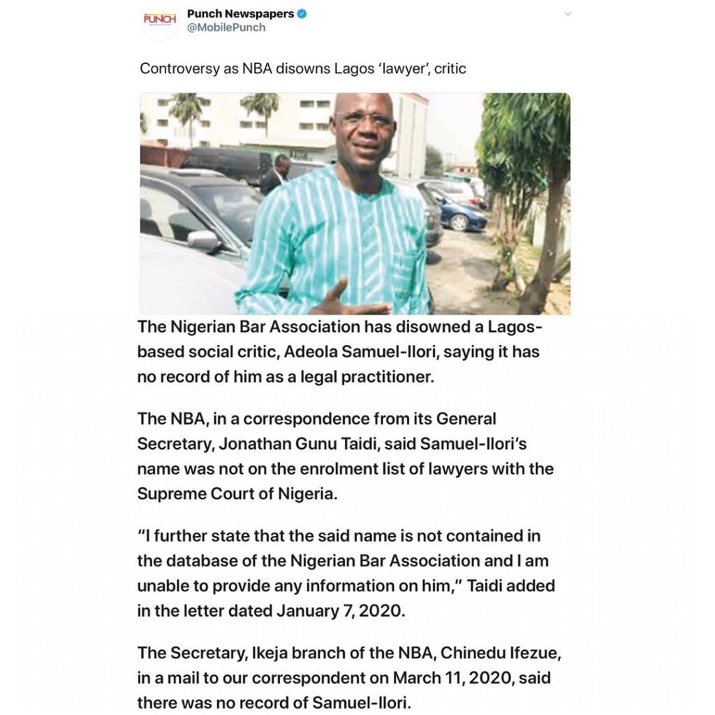 Popular Lagos based lawyer and Social Critic, Adeola Samuel Ilori, gets renounced by NBA [SWIPE TO READ ALL]