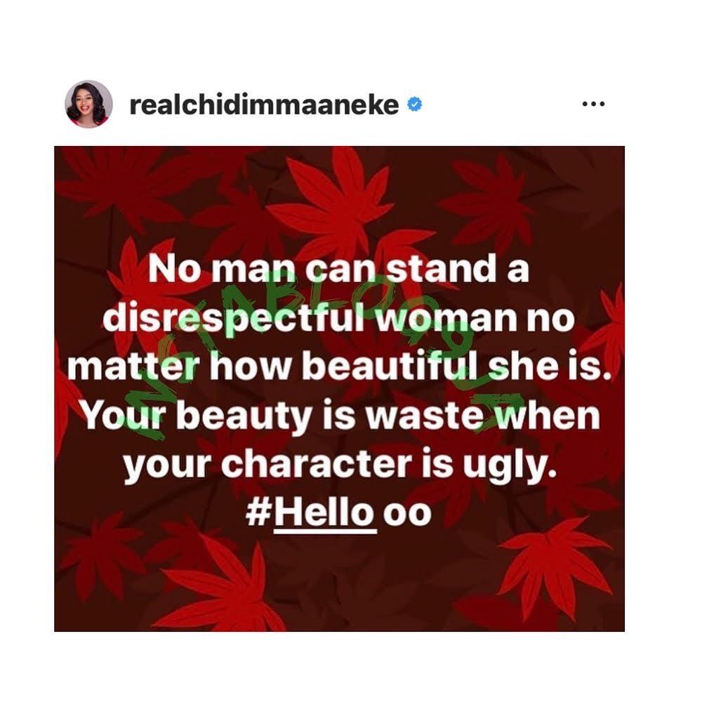 No man can stand a disrespectful woman, no matter how beautiful she is - Actress Chidimma Aneke