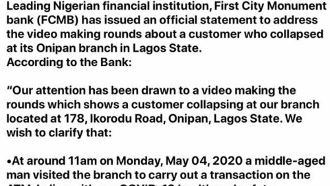 FCMB ISSUES OFFICIAL STATEMENT ON COLLAPSE OF CUSTOMER AT ONIPAN BRANCH; DEBUNKS COVID-19 CLAIMS [SWIPE]