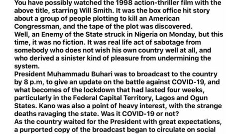 How we caught the'Enemy of State' who leaked Buhari's speech – Presidency. [Swipe]