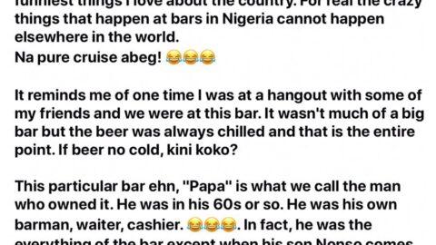 Twitter user recounts story of legendary bar owner: Papa of life [SWIPE]