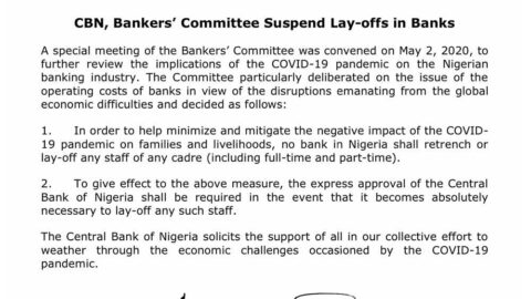 COVID-19: CBN directs all banks to halt retrenchment of staff