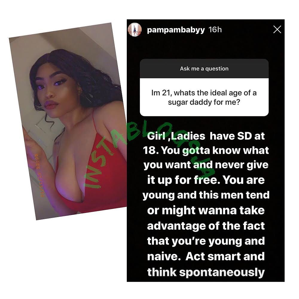 Don't sleep with men for free. Ladies have sugar daddies at age 18 - Lagos socialite , PamPam