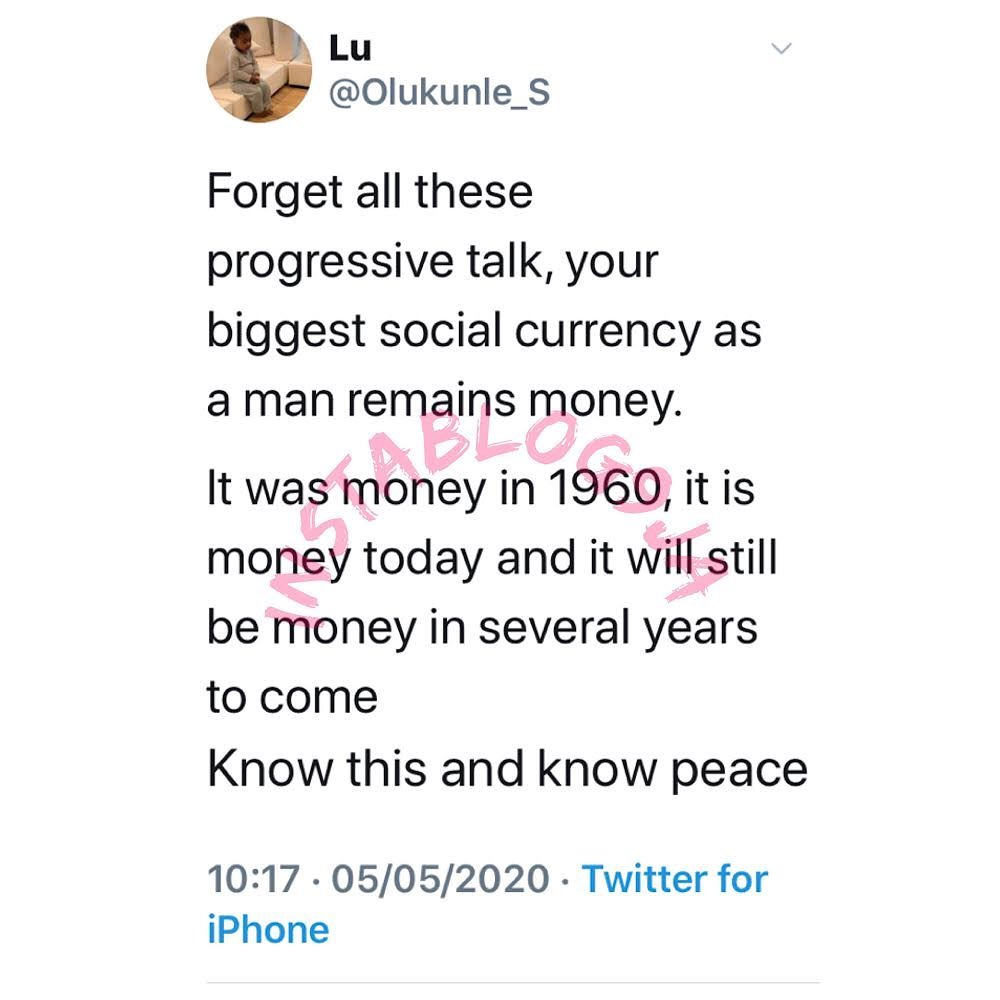 Your biggest social currency, as a man, remains money - Finance expert
