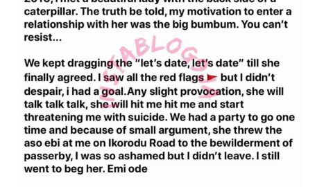 Mr. Okunrin recounts his domestic violence experience with an onion-booty ex [Swipe]