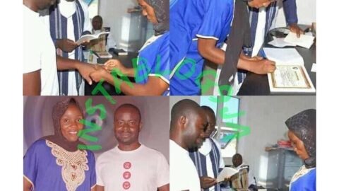 Lockdown: Couple get married in their casual wears at ECWA church, Kaltungo, Gombe State