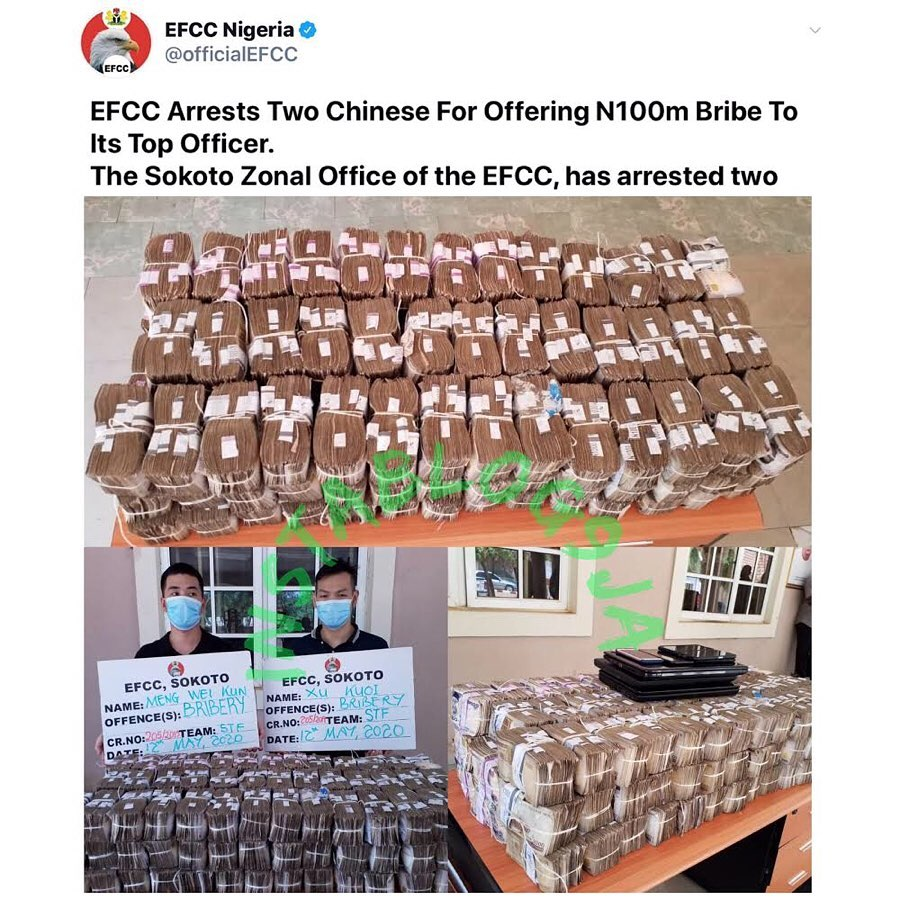 EFCC arrests two Chinese nationals for offering N50M bribe to its employee [Swipe]