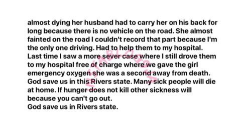 Lockdown: Husband treks a distance to the hospital, carrying his sick wife, due to lack of transportation in Rivers State [Swipe]