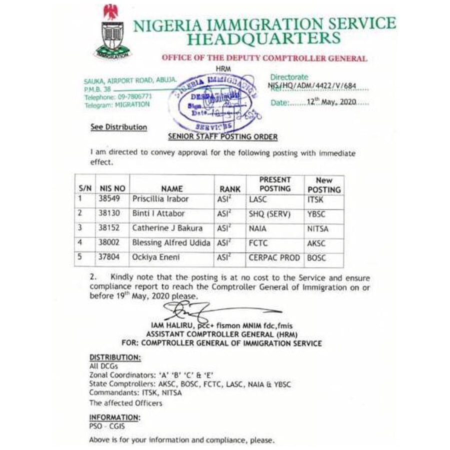 """""""Bop daddy"""" challenge lands Immigration officers in Borno, Yobe others"""