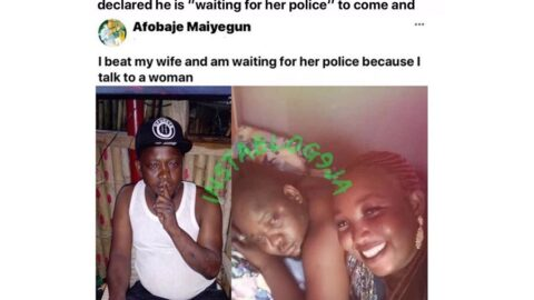Update: Lagos State arrests the beast who bragged online after beating his wife because she confronted him for talking to another woman. [Swipe for GRAPHIC images]