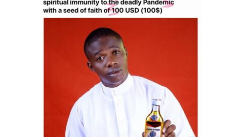 """Nigerian pastor begins the sale of """"Covid-19 prevention oil,"""" advises his members not to defend him against critics. [Swipe]"""