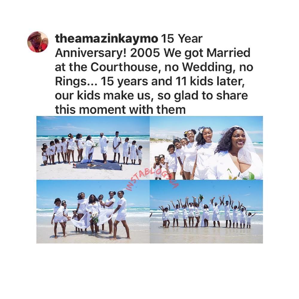 Couple celebrates 15th wedding anniversary with their 11 children