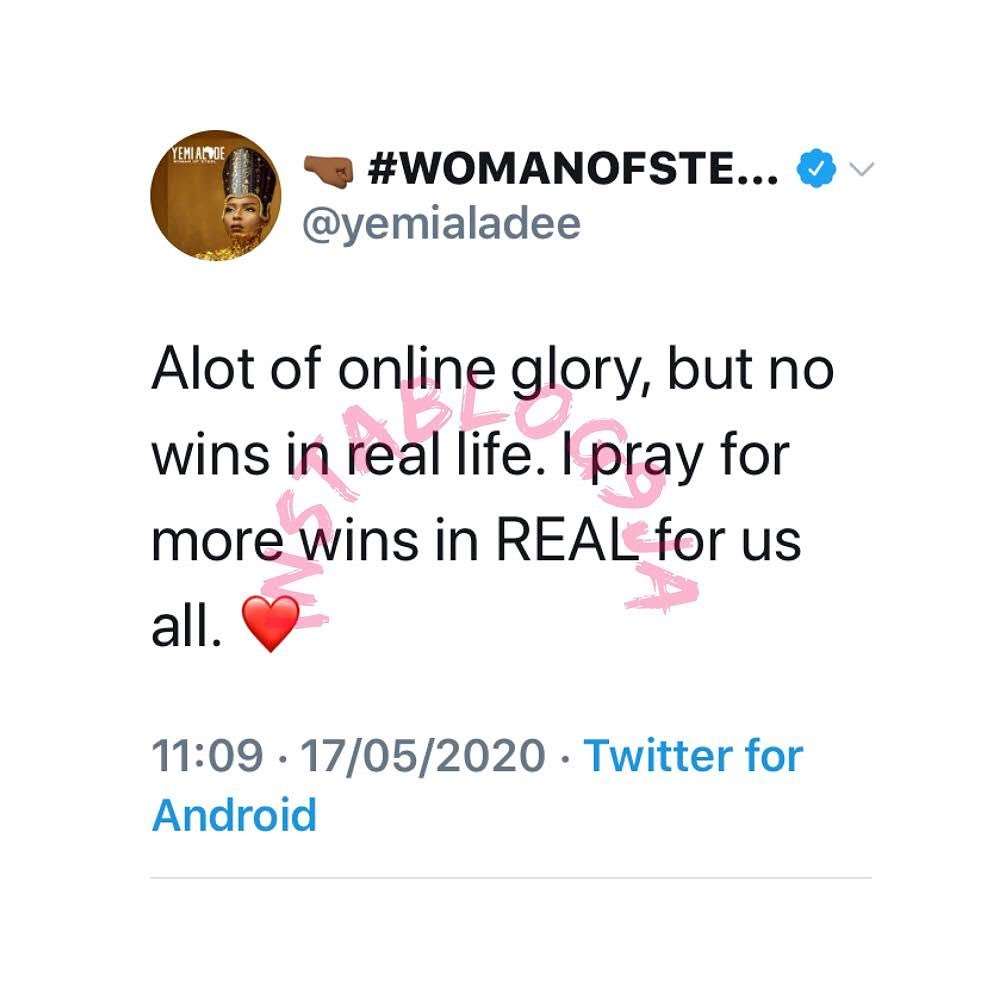 There a lot of online glories but no wins in real life - Singer Yemi Alade