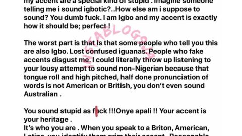 """Lady slams those who always try to correct her """"igbotic"""" accent"""