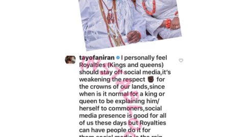 """""""Kings and Queens should stay off social media. It's weakening the respect,"""" ex-BBA contestant, Tayo Faniran, reacts to the post Ooni' Queen made to dispel the rumor of their split. [Swipe]"""