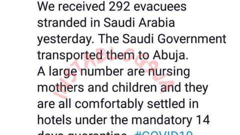 Nigeria evacuates 292 stranded Nigerians from Saudi Arabia