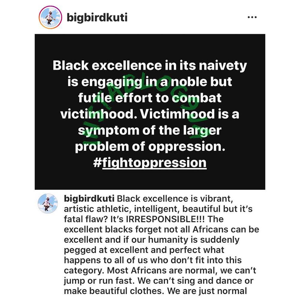 Black excellence is irresponsible. All Africans can't be excellent. Africans are normal - Seun Kuti. [Swipe]