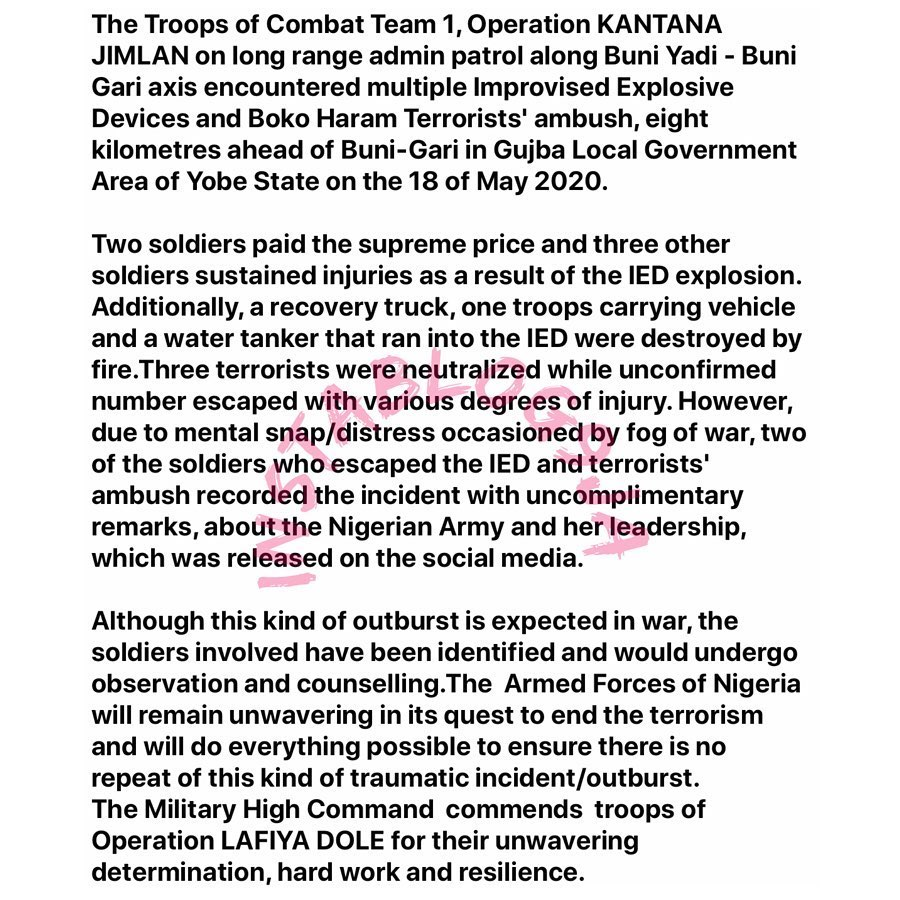 Nigerian Army reacts to the viral video of a soldier cursing Chief of Army Staff, Buratai, after a Boko Haram ambush. [Swipe]