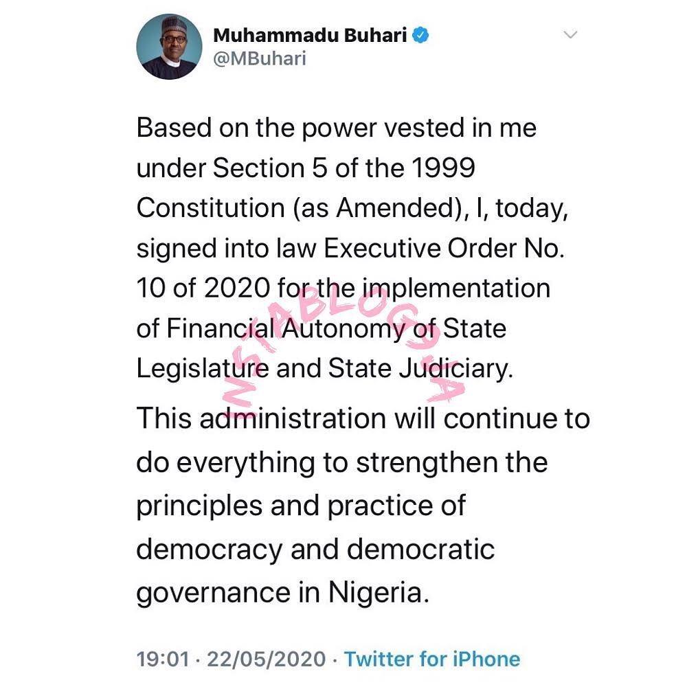 Pres. Buhari grants financial autonomy to state legislature, judiciary