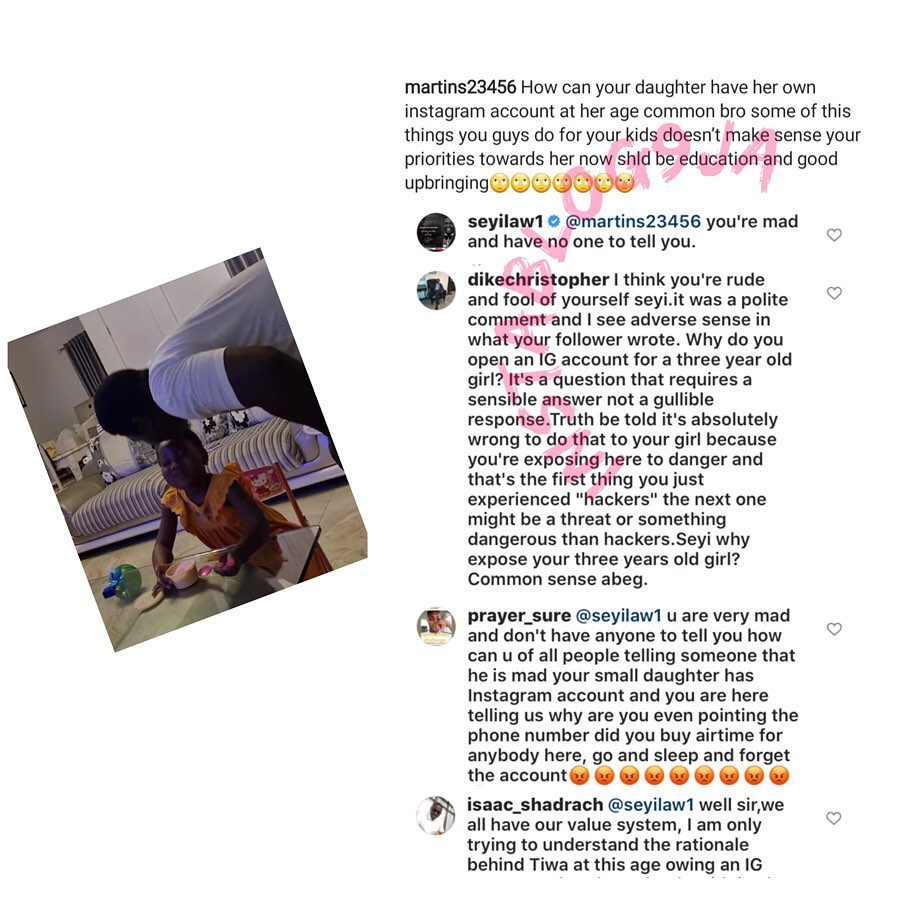 a Comedian SeyiLaw under fire for opening an IG page for his 3-yr-old daughter as she loses it to hackers. [Swipe]